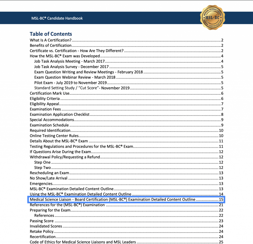 Screenshot of the MSL-BC® Candidate Handbook table of contents highlighting the Examination Detailed Content Outline on page 15.