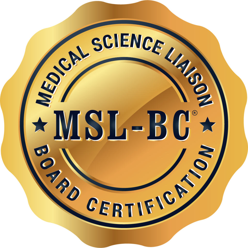 Medical Science Liaison-Board Certification® badge.